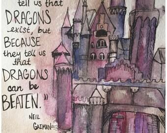 "8x10 Watercolor Neil Gaiman ""Castles"" Print"