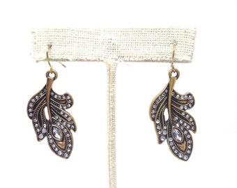 Gorgeous Estate Rhinestone Flower Dangle Leaf Gold Tone Earrings