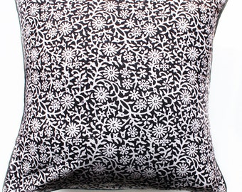 Black And White Floral Pillow Cover , Hand Block Printed Pillow Cover, Cotton Cushion Cover, 16 X 16 inches Pillow Cover, Home Decor
