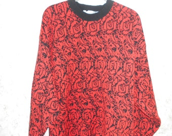 Vintage 1980s Pullover Hip Hop Sweater Oversize Slouchy Acrylic Red Bleck Retro Long Sleeves Womens 46 Chest