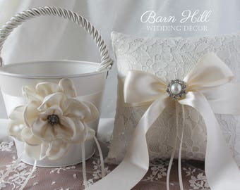 Ring Bearer Pillow, Flower Girl Basket, Wedding Ring Pillow, Ivory, Wedding, Elegant Wedding