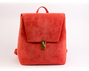 CORAL SUEDE REAL leather backpack, leather backpack, suede backpack, real leather bag, orange suede bag, lambskin bag,  coral backpack