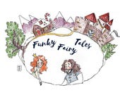 "Funky Fairy Tales ""Rapunzel"" - Instant Download PDF - fiction; digital; E-book; illustration; original art; ink; colored pencil; humor"