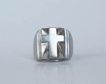 Chunky Sterling Silver Cross Statement Ring