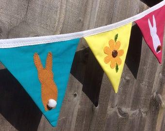 Fabric bunting, Easter bunting, spring bunting, flower bunting, Easter banner, Easter garland, spring garland, flower garland.
