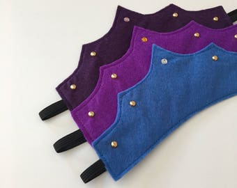 Purple/Blue Felt pretend play crown with jewel / faux gold studs