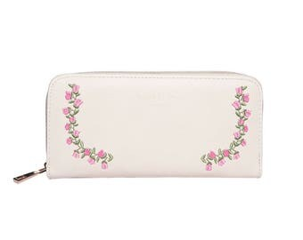 Ivory Rose Embroidered Purse