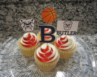 Cupcake toppers, party supplies, Butler Bulldogs, basketball, sports theme, NCAA, March Madness, college