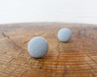 Dusty Green Button Earrings