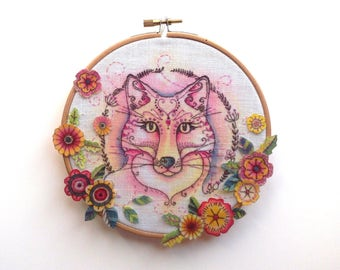 Fox embroidery pattern.