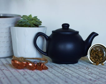 Infuser Teapot Gift Set, Matt Navy Blue - Herbal Loose Leaf Organic Artisan Tea Teabelly Infusion Tisane