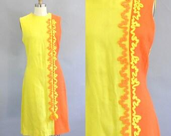 Vintage 1960s Color Block Yellow Orange Shift Dress. Mod Colorblock Yellow Orange Dress. Mod Sleeveless Yellow Orange Knee Length Dress