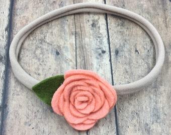 Coral Felt Flower on Metal Clip or Elastic Headband; Buy 3 Get 1 Free! Coral Baby Headband, Nylon Headband, Felt Flower Headband