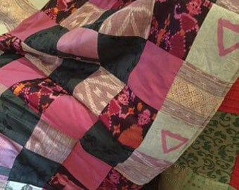 Indian silk and cotton exotic lap quilt