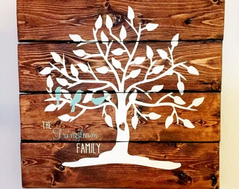 Hand Painted Family Tree with Birds