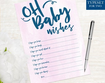 Oh Baby Wishes - Baby Shower Wishes - Baby Shower - Wishes Card - Printable - Instant Download