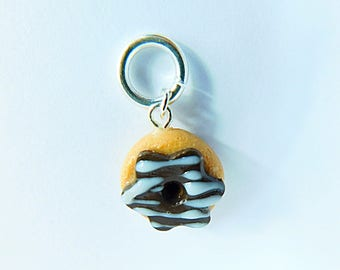 Chocolate Donut Drizzle Charm/Jewelry Findings/Jewelry Supplies/Food Charm