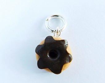 Chocolate Donut Charm/Clay Doughnut Charm/Jewelry Findings/Jewelry Supplies