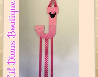 Minnie Mouse initial bow holder