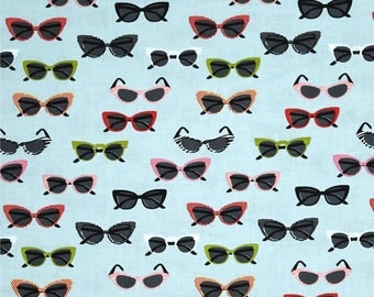 "Riley Blake Novelty Sunglasses by Samantha Walker C4553 Aqua 44""/45"" 100% cotton **Half Yard Cuts**"