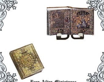 Miniature BOOK of HOURS Manuscript #2 – 1:12 Black Hours of Charles the Bold Illuminated Antique Dollhouse Miniature Book Printable DOWNLOAD