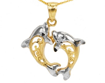 10k Yellow Gold Dolphin Necklace
