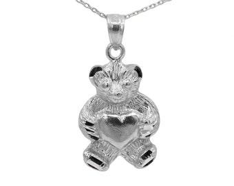 10k White Gold Teddy Bear Necklace