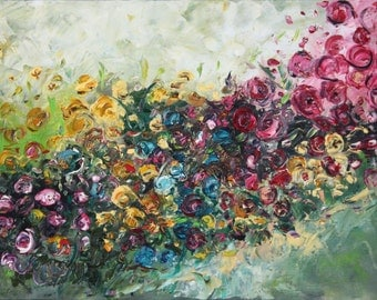 Original Oil Art Colorful Wheels Abstract Oil Painting Art Original Idea roses wall decor abstract colorful floral flower