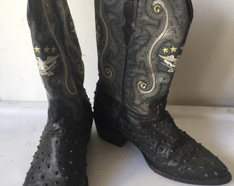 Gray men's boots from real leather, with embroidery, vintage style, western boots, cowboy boots, old boots, retro boots, men's size - 9.