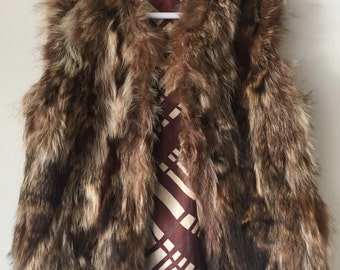 Steep Mid Length Vintage Brown Warm Genuine Soft Fur Vest Festive Look Women's Size Medium.
