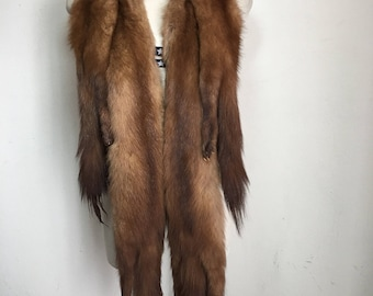 Really steep collar from real mink fur soft fur few pieces paws & tail minks festive look vintage retro women's brown collar size-universal.