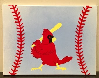 RED BIRD Nation - Hand Painted Canvas - St. Louis Cardinals Baseball Gift - Fan Cave, Man Cave Decor, Hand Painted