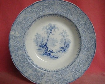 Antique 1860s Romantic Staffordshire Blue and White Transferware Soup Plate