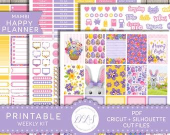 Happy Planner Easter Kit, Easter Planner Stickers, Happy Planner April, Easter Weekly Kit, Easter Bunny, Easter Egg, Printable Kit, HP120