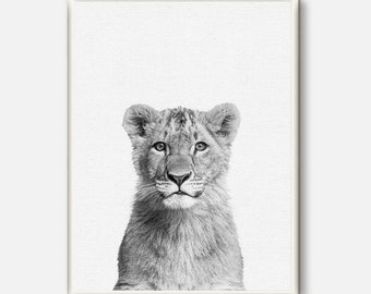 Baby Lion Print, Safari Art, Nursery Animal, Cute Baby Lion, Kids Room Printable, Baby Room Poster, Grey Wall Art, Contemporary Animal Art
