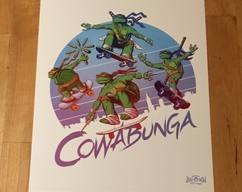 "TMNT Art Print 8"" x 10"" - Teenage Mutant Ninja Turtles cowabunga skateboarding comics videogame gaming geek pop art"