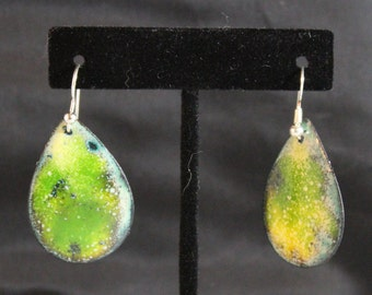 Greenish Teardrop Enameled Copper Earrings (022017-021))