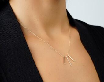 Three Bar necklace - Bar necklace - Gold bar necklace - Minimalist necklace - Dainty necklace - Minimal necklace - Stick gold necklace