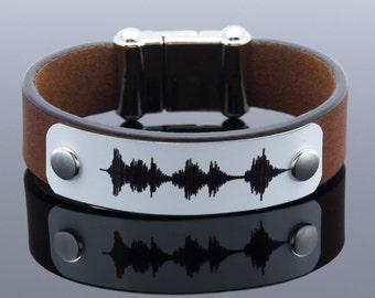 Personalized Sound Waves Bracelet, Voice Recording, Keepsake Bracelet, Mementos Gift, Anniversary Gift, Husband Gift, Gift for Men, Men Gift