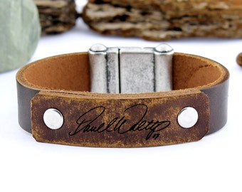 Personalized Handwriting Bracelet, Signature Bracelet, Engraved Bracelet, Custom Handwriting, Leather Cuff Bracelet, Gift for Men, Mens Gift