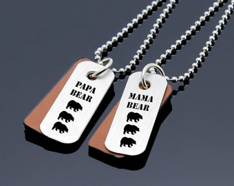 Personalized Couples Necklace, Mama Bear Necklace, Papa Bear Necklace, Mom Dad Gifts, Mother Father Gift, Mom Dad Necklace, Anniversary Gift