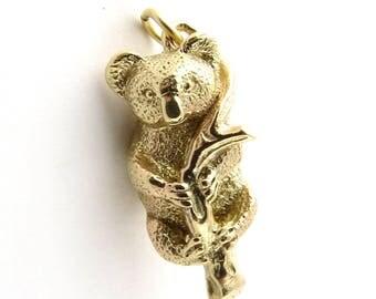 Vintage 14K Yellow Gold 3D Koala Bear Charm #458