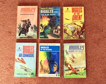 6 BIGGLES Paperback books from the 1960's (1 from 1970)