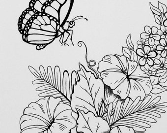 Butterfly and Morning Glorys Note Card