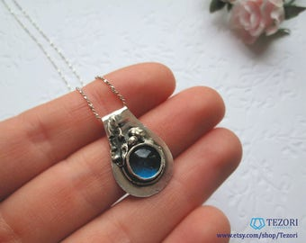 dainty blue sea glass pendant necklace, necklaces for women