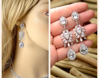 Crystal Bridal Earrings Wedding earrings Long Bridal earrings Bridesmaids Wedding Jewelry  Long Crystal Stud Earrings Gift for her studs