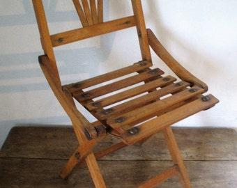 Small child folding chair, wooden beginning 20th century