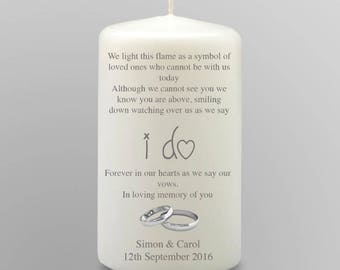 Large Personalised In Loving Memory Remembrance Candle Wedding Day Gift Keepsake Centrepiece Favour