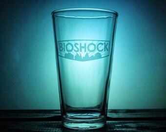 Bioshock Pint Glass - Rapture - Pint Glass - Pilsner Glass - Weisner Glass - Wine Glass - Logo