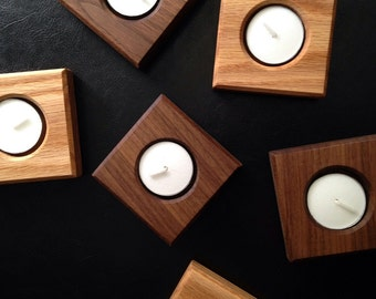 Wood Candle Holder - Husband Gift - Wood Tea Light Holder - Candle Centerpiece- Tea Light Candles - Tea Candle Holder - Tea Light Runner (1)